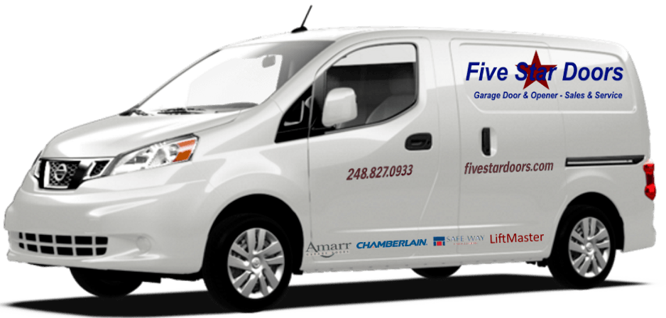 "alt=""White van with name, phone number, and suppliers on it. Five Star Doors service vehicle used for garage door repair and opener repair in metro Detroit."""