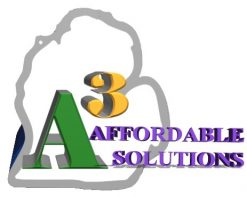 "alt=""logo for a3 affordable solutions witch is an outline of Michigan with the name inside"""